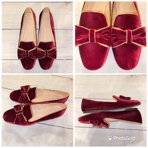 J. Crew Burnished Beet velvet Smoking Flats